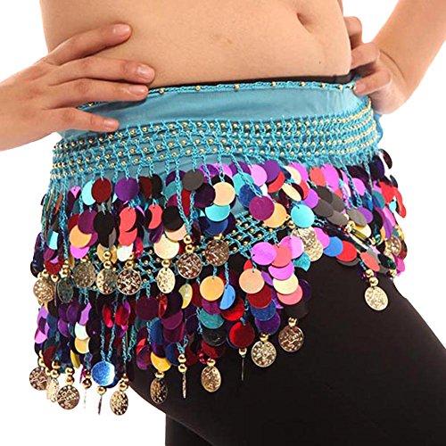 Colorful Bauchtanz Hüften Schal Chiffon Rock Wrap Gold Münze Taille (Kostüm Kleidung Zigeuner)