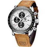 BENYAR Reloj cronógrafo para Hombre Movimiento de Cuarzo Fashion Business Sports Watch 30M Impermeable Elegante Regalo de los