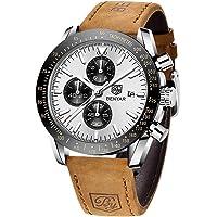 BENYAR Montre Homme chronographe pour Homme Mouvement à Quartz Bracelet en Cuir Montre de Sport d'affaires de Mode 30M…