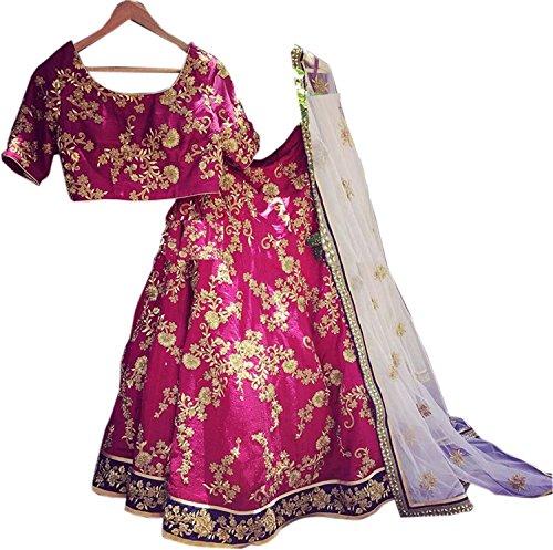 Sai creation Silks Women Red Bridal Silk lehenga with Dupatta (Kerala_Kasavu_free size_lehenga)