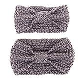 Eltern-Kind Haarband,MoreChioce 2 Stück Mutter und Baby Stirnband Wolle Kleinkind Damen Hairband Winter Warm Kinder Mädchen Kopfband mit Grau