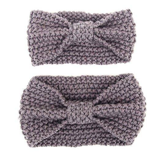 Eltern-Kind Haarband,MoreChioce 2 Stück Mutter und Baby Stirnband Wolle Kleinkind Damen Hairband Winter Warm Kinder Mädchen Kopfband mit Grau,EINWEG