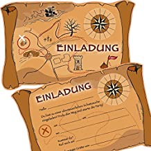 6 Einladungskarten * SCHATZSUCHE * für eine Mottoparty, Schnitzeljagd oder Kindergeburtstag von DEKOSPASS // Geocaching Party Ritter Piraten Kinder Geburtstag Party Kinderparty Einladung Einladungen Karte Einladungs-Set Motto