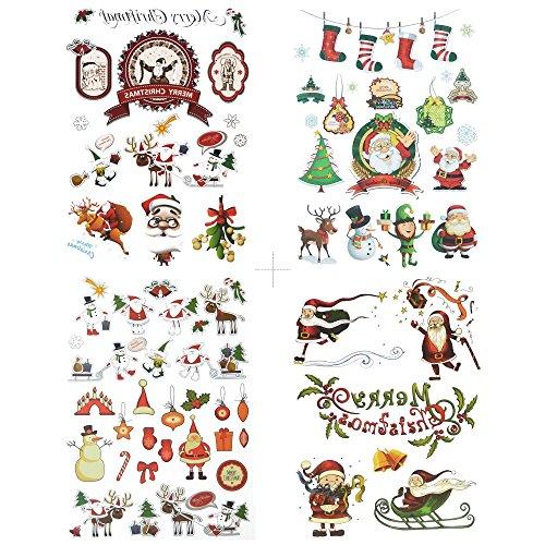 COKOHAPPY Weihnachten Temporäre Tattoo 4 Verschiedene Blätter Niedlich Elch Schneemann Santa Claus