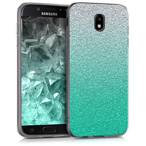 kwmobile Samsung Galaxy J7 (2017) DUOS Hülle - Handyhülle für Samsung Galaxy J7 (2017) DUOS - Handy Case in Petrol Silber Transparent