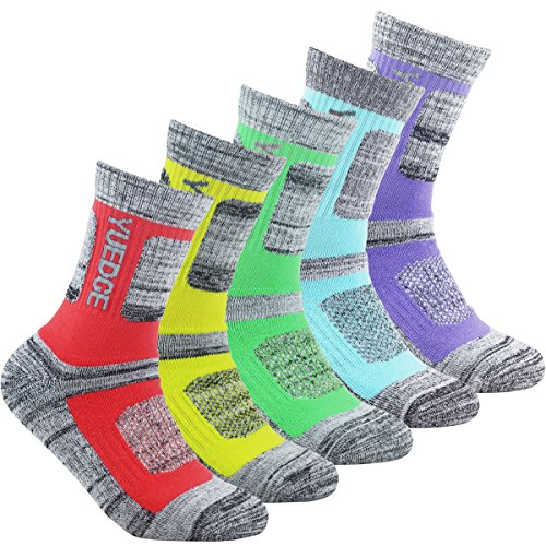 YUEDGE Women's 5 Pairs Wicking Breathable Cushion Anti Blister Casual Crew Socks Outdoor Multi Performance Hiking Trekking Walking Athletic Socks (2018 Newest Style)