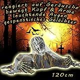 NET TOYS Scheletro Zombie Animato Decorazione Halloween Morte personificata - Gadget Halloween interattivo Pupazzo Mietitore addobbo Giardino Addobbamento Interni comare Morte
