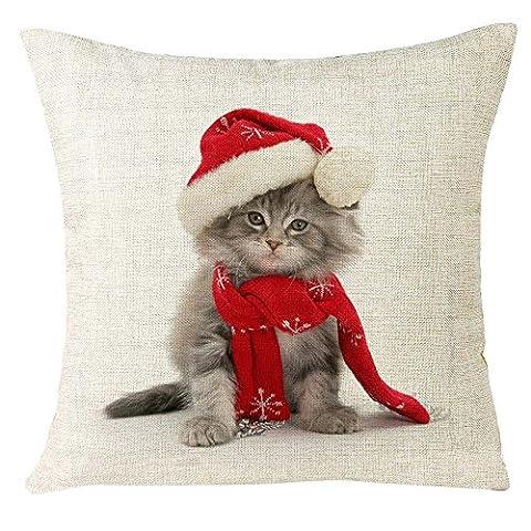 Pillowcase de Noël, Reaso Photos des animaux Canapé Accueil Décoration Festival Taie d'oreiller Housse de coussin (A)