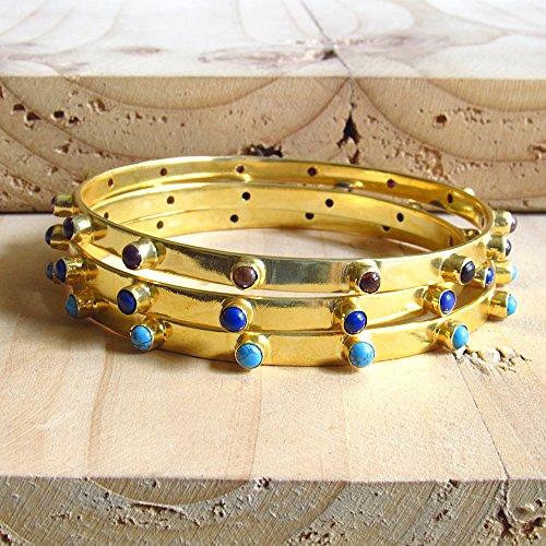 Gold Stapelbare Armbänder mit natürlichem lila Amethyst, blauen Lapis und Türkis Edelstein Armbänder - Geschenk für sie (Lapis Lila)
