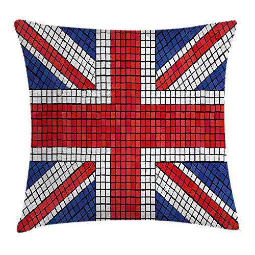 Union Jack Throw Pillow Cushion Cover, Mosaic Tiles Inspired Design British Flag National Identity Culture, Decorative Square Accent Pillow Case, 18 X 18 inches, Royal Blue Red White