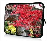 Luxburg® Design Laptoptasche Notebooktasche Sleeve für 14,2 Zoll, Motiv: rote Blätter