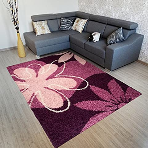 Area Rugs For Living Room - ART COLLECTION - Dark Purple With Flowers Pattern - Soft And Shaggy Carpet - Easy To Clean - Best Price And Quality Offer 80 x 150 cm (2ft7