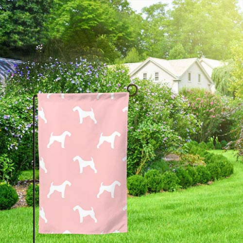 IconSymbol Garden Outdoor Flag Stand Banner Airedale Terrier Dog Breed Pet Quilt D Quilt Silhouette Coordinate Quilt Dog Decorative Weather Resistant Double Stitched 18 x 12.5 Inch