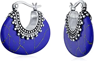 Boho Bali Indonesian Tribal Gemstone Oval Half Crescent Hoop Orecchini per donna Caviale Perline Milgrain Ossidato 925 Sterling Argento