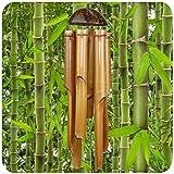 Simandra Windspiel Klangspiel Bambus Deko Mobile Klangröhren Klang-Spiel Entspannung Garten Türglocke Feng Shui 75/25 cm -