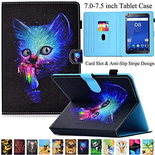 Universal Tablet-Schutzhülle, Artyond PU Leder Multi-Winkel Ständer Hülle mit Kartenschlitzen für Android, Windows, Kindle, Galaxy Tab und andere 17,8-7,5 Zoll Tablet, Blaue Katze - Für 7-zoll-kindle Ständer