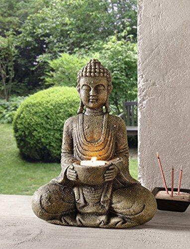 """Deko-Figur """"Buddha"""" grau Kerzenhalter modern ausgefallen groß Glücksbuddha Natursteinoptik"""