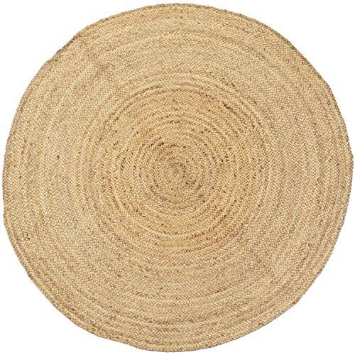 Handgewebter runder Jute Teppich 150 cm groß Teppich Abril Natur | Outdoor Teppiche Rund geflochten für Garten oder Balkon | Indoor im Wohnzimmer Kinderzimmer | Mediterrane Deko für Ihre Wohnung