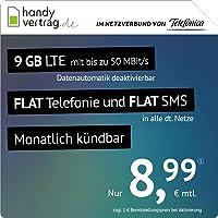 handyvertrag.de LTE All 9 GB - monatlich kündbar (Flat Internet 9 GB LTE mit max. 50 MBit/s mit deaktivierbarer…