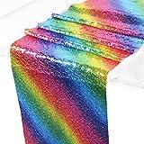 Wazonton Regenbogen Tischläufer, Pailletten Nähen Tischdecke Cover Glitter Tisch Flagge, Idee Dekoration für Hochzeit, Geburtstag, Baby-Dusche, Graduierung, Party, Festival-Event (30X180cm)