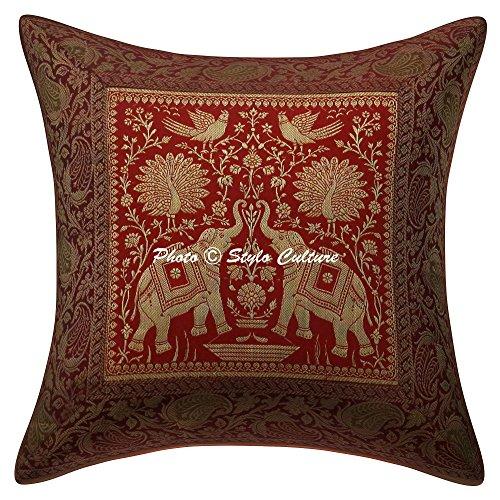 Stylo Culture Cojines de Elefante Indio para Camas Cojín de Pavo Real Rojo Brocade Jacquard 40 X 40 Cojines de cojín Cuadrado Tradicional Brocade 40x40 cm (1 Pieza)
