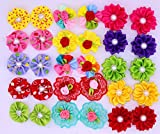 Yagopet 50pcs/pack New Dog Hair Bows Rubber Bands Round Bows Pearls Flowers Topknot Mix Styles Dog Bows Pet Grooming Products Mix Colors Pet Hair Bows Topknot Dog Accessories