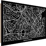 Feeby Cuadro Decoracion Copenhagen Arte de Pared Mapa Ciudad Negro 90x60 cm