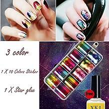 Nail Art Foil Pegatinas, igemy Nail Art Set de 10 colores adhesivo para decoración para