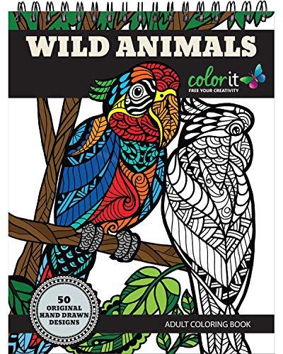 ColorIt Cahier de coloriage Animaux Sauvages : Prime relié avec Albums Reliure Spirale grandi Coloring Book