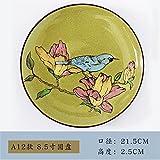 YUWANW Retro Handbemalte Keramik-Geschirr Kreative Heimat Platte Runden Flachen Teller Teller Suppenteller Steak Platte Art Deco Platte, A13- Scheibenmodelle