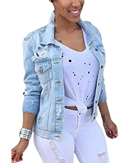 cb709bf20650 Minetom Femme Automne Denim Blousons Manches Longues Retro Bouton Veste  Jeans Lavés Manteaux