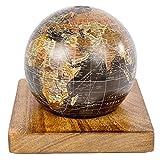 Spardose Sparbüchse in Globusform mit Holzaufsteller Antik Welt - Holz Burned Wood - Sparschwein Globus Weltkugel Mehrfarbig. von Haus der Herzen