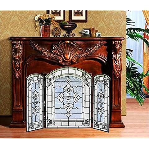 Makenier Vintage Decorativo in Vetro colorato stile Tiffany Art 3lembi–Schermo pieghevole Camino Firewall