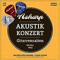 Asharp cordes en nylon pour guitare classique – Jeu de cordes premium d'une sonorité exceptionnelle – Tirant normal