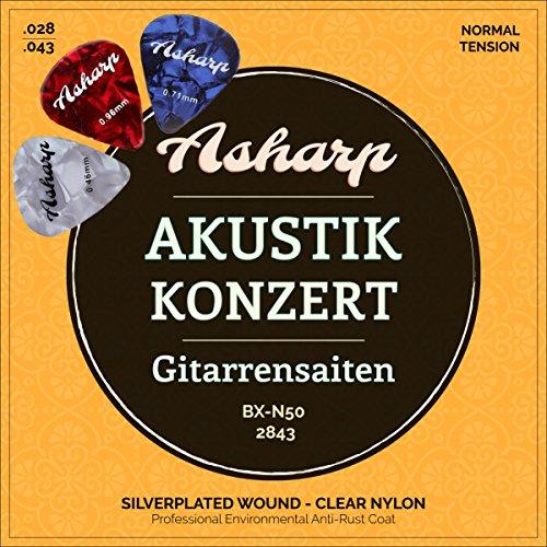 Asharp Gitarrensaiten für klassische Gitarre inkl. 3 Plektren - Premium Nylon-Saiten Satz für Konzertgitarre und Akustikgitarre