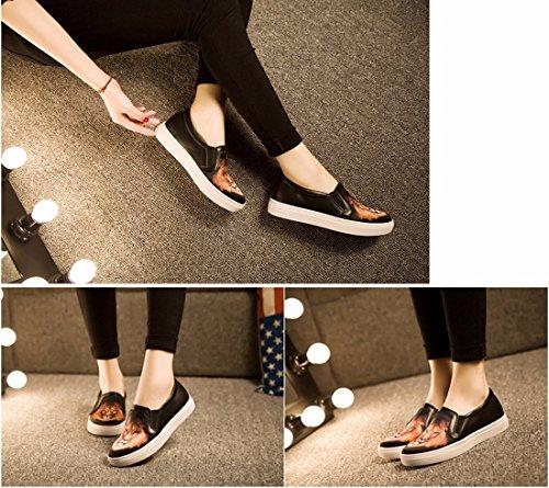 Printemps / Automne Femmes Plat 3D Print Glisser Sur La Plate-Forme De Chaussures Flaneurs Baskets Chaussures Lion noir