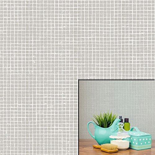 Crown Mosaic Tile Wallpaper Grey Mist (M1121)