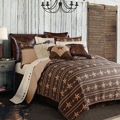 HiEnd Akzente Unisex Star Ranch Quilt Set Twin – qw2010-tw-oc, baumwolle, braun, King Size (Star Ranch)