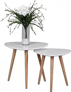 Design Beistelltisch 2er Set SKANDI Form Dreieck