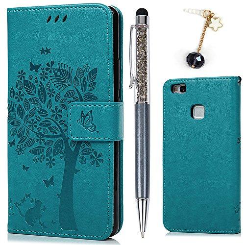 Huawei P9 Lite Cover, Flip Custodia Libro Pelle PU e TPU Silicone con Funzione Supporto Chiusura Magnetica Portafoglio Libretto Bumper Case per Huawei P9 Lite, Albero Blu