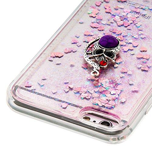 """MOONCASE iPhone 6S Plus Coque, Glitter Sparkle Bling [Owl] Faux Diamant Dessin Motif Liquide Étui Coque pour iPhone 6 Plus / 6S Plus 5.5"""" Soft TPU Gel Souple Case Housse de Protection Or 04 Rose 04"""