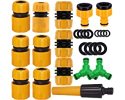 """ANSYU 1/2"""" Garden Hose Connector Kit 14pack 1Nozzle,5 Hose Quick Connect,1 Connector with water stop 2 Hose Repair Connector,"""
