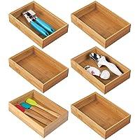 mDesign bac de rangement pour cuisine (lot de 6) – rangement tiroir en bambou – rangement cuisine empilable pour…