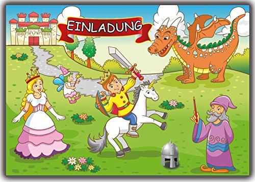 Ritter Prinz Einladungskarten Einladung 12 Stück zum Kindergeburtstag Geburtstag Kinder Jungen Mädchen Zauberer Prinzessin Fee Drachen Burg Schloß