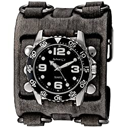 Nemesis Men's 'Groovy Series' Quartz Stainless Steel and Leather Automatic Watch, Color:Black (Model: FWB097K)