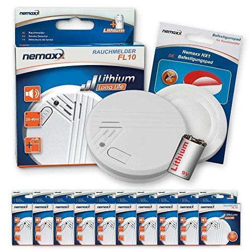10x Nemaxx FL10 Rauchmelder + 10x Nemaxx NX1 Quickfix Befestigungspad - hochwertiger Rauchwarnmelder...