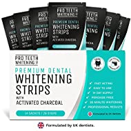 Premium Dental Teeth Whitening Strips with Activated Charcoal | 28 Peroxide-Free Tooth Whitening Strips Per Pack (14 Upper + 14 Lower) | Formulated by UK Dentists by Pro Teeth Whitening Co.®