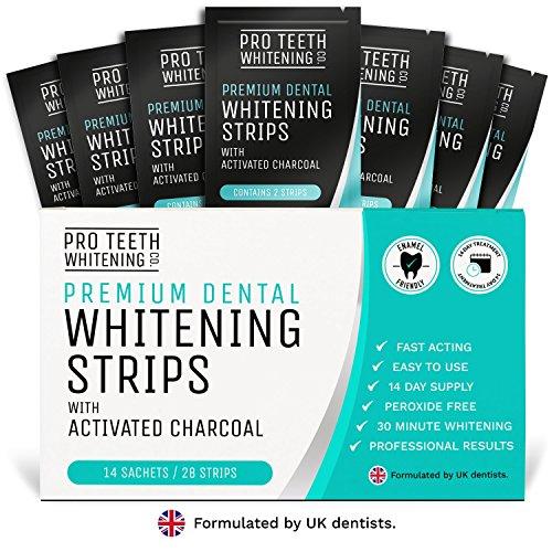 28 Bandas Blanqueadoras Dientes Blanqueamiento de dientes | Tiras Blanqueadoras Dientes con Carbón Activo | Blanqueador Dental Profesional Strips