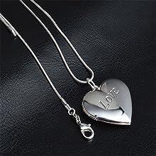 Skyllc® Delicado plata de ley del amor del corazón caja de la foto Colgante con Collar de cadena fina para chicas