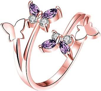 Gespout Anelli da Donna alla Moda Oro Rosa Asimmetrico Farfalla Animale Diamante Strass Anello Regolabile Apribile Fit Ragazza Femminile